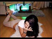 spy latina barefoot at home