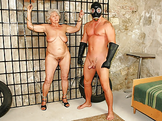 Oldyoung Big Boobs Grannies video: Granny Norma serves her Master