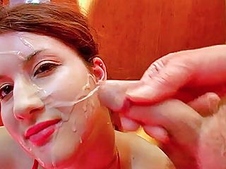 British Bukkake Teen video: Nervous blowjobs and heavy cum facials