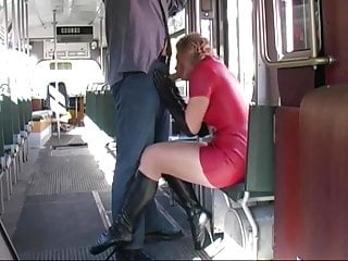 blow job in latex in a tram