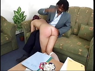 Bdsm Spanking Big Ass video: Shy schoolgirl redhead disciplined by black master