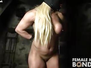 Bondage Bodybuilder Restraints video: Naked Female Bodybuilder Struggles in Restraints