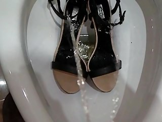pissing onto a very close sexy friends summer sandals