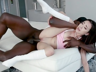 Teens Interracial Small Tits video: Tiny cute babe Kiley Jay takes huge hard cock in her cunt
