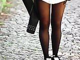 Slut turkish girl Jale in Shiny black opaque tights