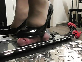 Femdom cock and ball trampling with ruined orgasm CBT