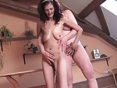 two lesbian hairy grannies playing with their saggy tits
