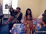 Four amateur black gals go porn casting