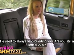 FemaleFakeTaxi Blonde Fitness babe loves big tits and eating