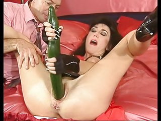 Fisting video: Sandra is fisted hard and still needs two huge cucumbers