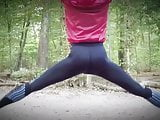 sissy twink tight round ass in yoga pants outdoor