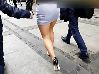 magic butt in mini skirt and heels
