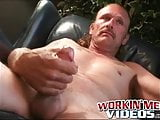 Deviant mature gay dude spanks his hard dick and cums solo