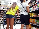 Candid voyeur hot teen long legs grocery store with mom