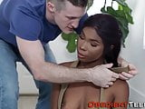 Sub ebony teen nailed