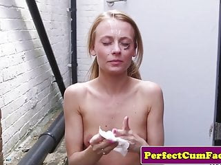 Blowjobs Facials video: British spunk schoolgirl cocksucking outdoors