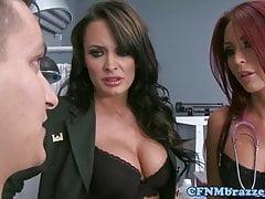CFNM vojenské babe cockitting v triu