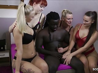 Group Sex Gangbang Interracial video: REVERSE GANGBANG - German Anny Aurora Dirty Tina in FFFM Sex