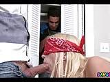 Fucking with Blindfolded Blonde Teen
