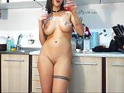 romanian cam-slut in the kitchen