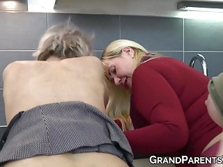 Big Tits Lesbian Mature video: Mature babes pussylicking with busty young lesbian