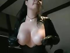 Big Tits Trafitto Brunette in Spandex Catsuit Rides Dildo
