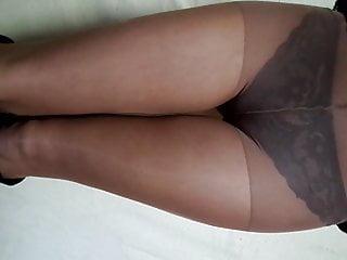 Lingerie Foot Fetish porno: Fishnet panties under nylon pantyhose, nylon fetish
