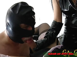 Amateur Bdsm Femdom video: Slave must do blowjob for german fetish lady -first  time bi