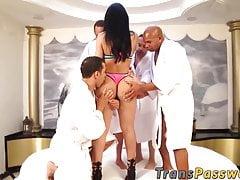 Busty Latina Tranny Group Bang Pummeled By Many Big Dicks