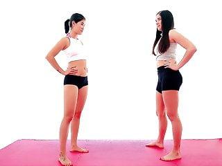 Asian vs Brunette Bikini Catfight Femdom Scissorhold