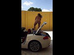 Latino Chick Dance on car nude