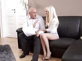 Blonde Blowjob Mature video: DADDY4K. Adorable Candee Licious has fun with caring old