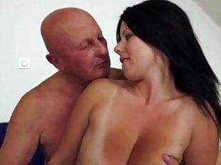 Big Tits Old Amp video: Claudia's big tits drives an old man crazy