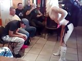 Blonde stripper in a biker bar