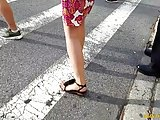 Sexy legs and feet leaving work