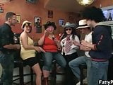 Fat girls fooling around in the bbw bar