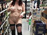 Public flashing totally naked in store