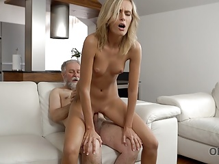 Blonde Blowjob European video: OLD4K. Horny daddy demonstrates blonde colleen what passion