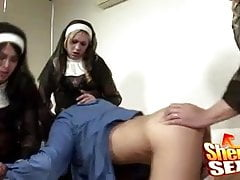 Shemale Nuns Gang Up On A Believer