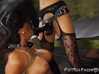 Bound bimbo mouth fucked hard and toyed with a strapon