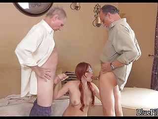 .Redhead takes on 2 old cocks.