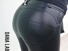 Hot ass in leather leggins and high heels