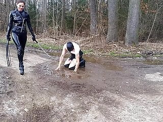 German Public Nudity Bdsm video: publich Femdom Muddy