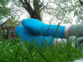 British Outdoor Striptease video: Teasing with my Blue Socks in a Park