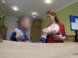 Big Tits Redhead European video: LOAN4K. Redhead with huge hooters has sex for cash with loan