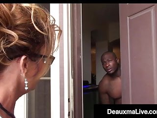 Hardcore Stockings Blonde video: Busty Texas Cougar Deauxma Sucks Big Black Cock For Tax Loan