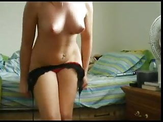 Teen Brunette Striptease video: Part 1 of homemade strip and dildo for boyfriend