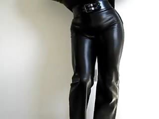 High Heels Leather xxx: Tight leather pants trousers jeans leggings