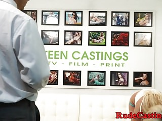 Hardfucked teenie strips at casting audition