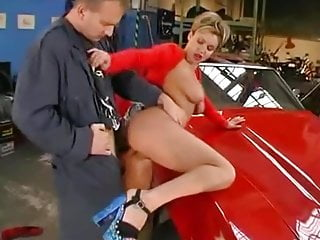 sexy babe red hot car
